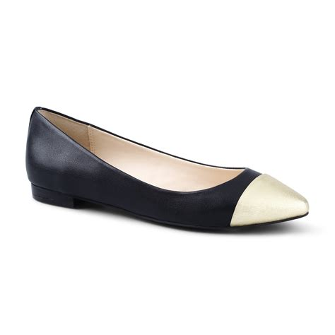 metallic flat shoes c metallic cap pointed toe flat in black black