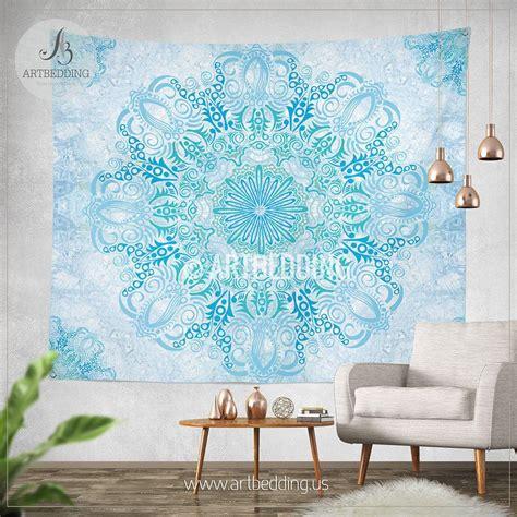 light blue wall decor boho tapestry light blue and green mandala tapestry wall