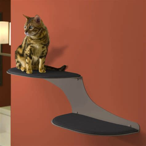 Contemporary Accessories For Your Pet by Refined Feline Cat Clouds Cat Shelf Titanium