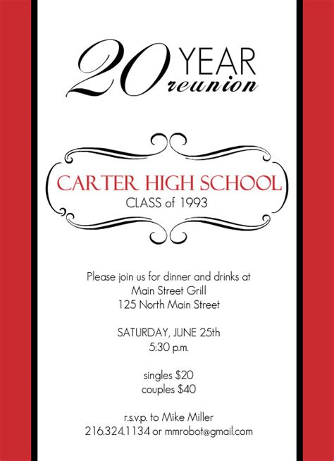 Classic Red And White 20 Year Class Reunion Invitation Template Class Reunion Invitation Template