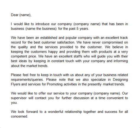 Business Letter Template Introducing Your Company Sle Business Introduction Letter 14 Free Documents In Pdf Word