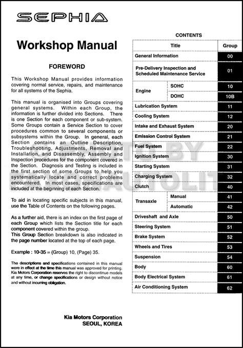download car manuals pdf free 1994 kia sephia head up display 2000 kia sephia repair manual data set