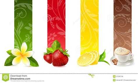 Sweet Designs Kitchen set of different food banners royalty free stock image