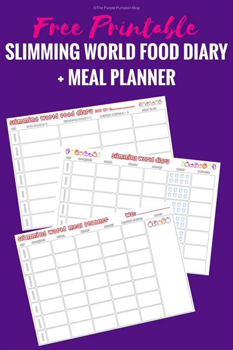 slimming world meal planner template slimming world food diary printable meal planner