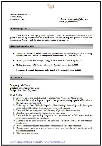 Cover Letter For Mba Marketing Fresher by Mba Marketing Resume Format For Freshers Resume Ideas