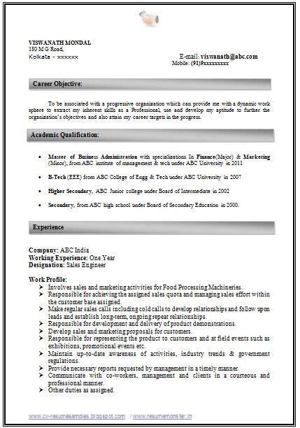 Mba Marketing Sap by Mba Marketing Resume Format For Freshers Resume Ideas