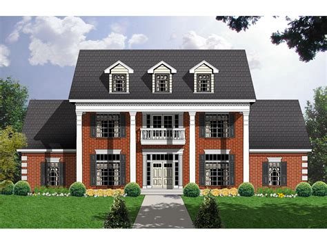 Carley Point Georgian Home Plan 030d 0104 House Plans House Plans With Large Columns