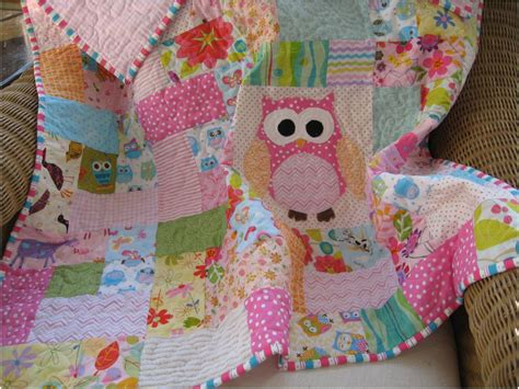 Handmade Baby Quilt - handmade scrappy owl quilt pink baby girll quilt owl nursery