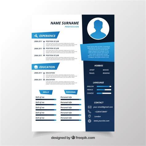 Resume Design Examples by Plantilla De Cv En Tonos Azules Descargar Vectores Gratis