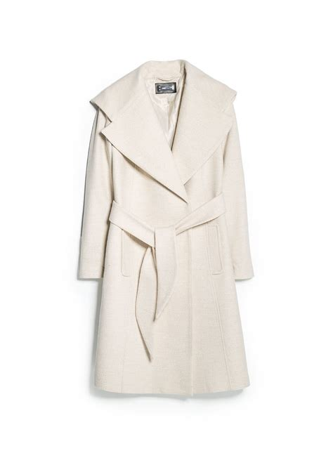 Wide Lapel Wool Blend Coat mango wide lapel wool blend coat in white lyst