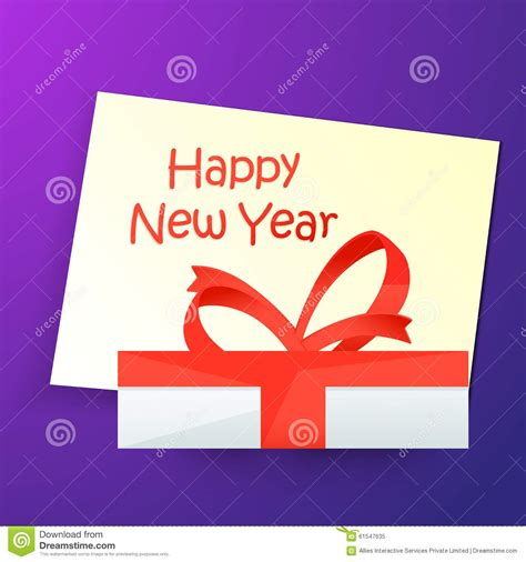 happy new year gift card greeting card with gift for happy new year stock