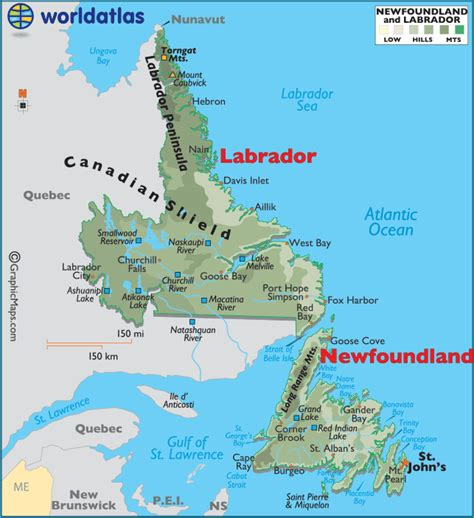 newfoundland map newfoundland and labrador canada large color map