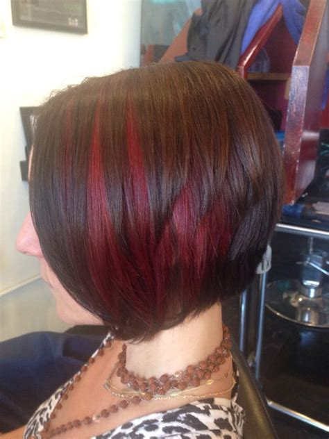 Red peekaboo highlights and a line haircut   Yelp
