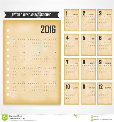 Calendario Retro Calendar For 2016 On Grey Background 2016 Calendar In The