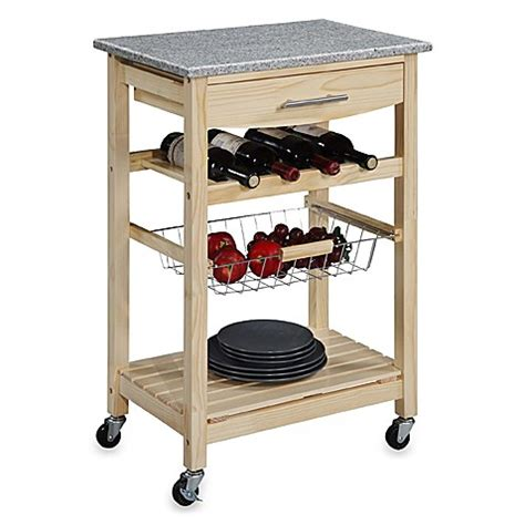rolling kitchen cart granite rolling kitchen cart in bed bath beyond