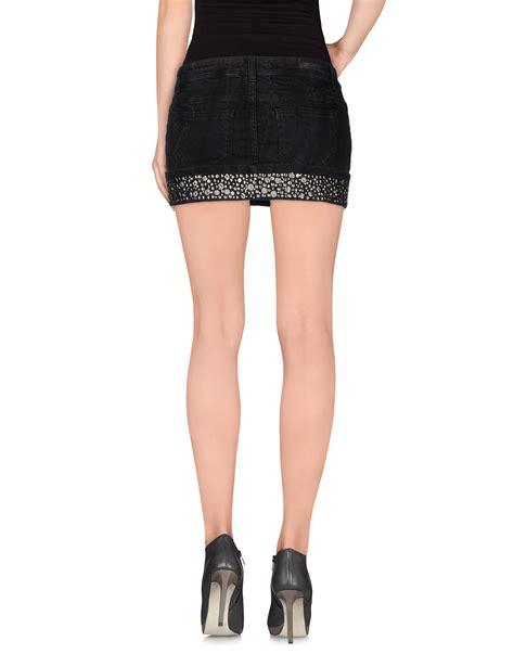 guess denim skirt in black lyst