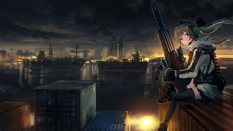 anime soldier girl wallpaper download 1920x1080 anime girl soldier sitting sniper