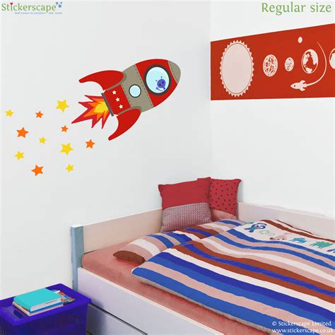 rocket wall sticker flying rocket wall sticker stickerscape uk
