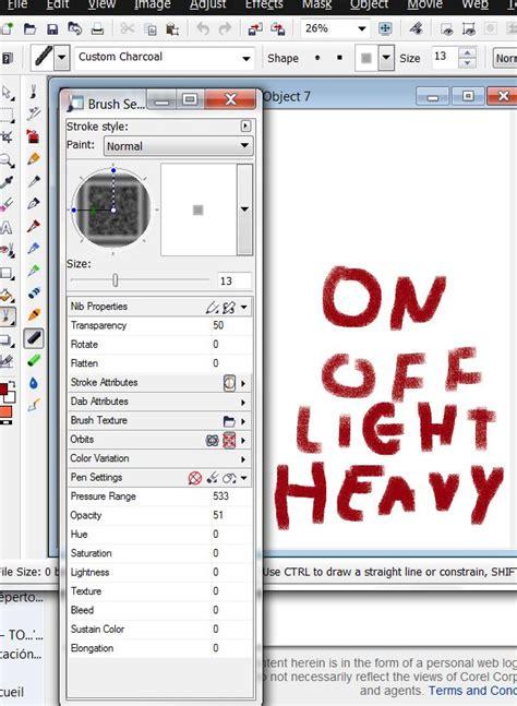 opacity in coreldraw x5 pressure sensitive brushes on photopaint help corel