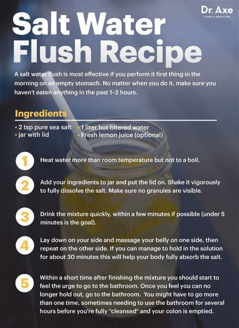 Does Flush And Detox Water Work by Salt Water Flush Safest Way To Cleanse The Colon And Detox