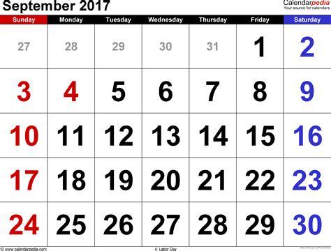 september  calendars  word excel
