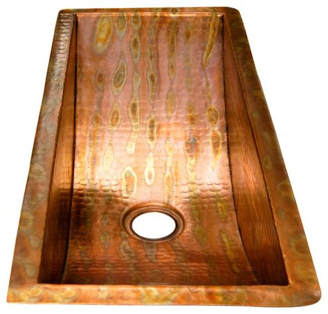 Rectangular Bar Copper Sink Undermount Rustic Bar Rustic Kitchen Sinks