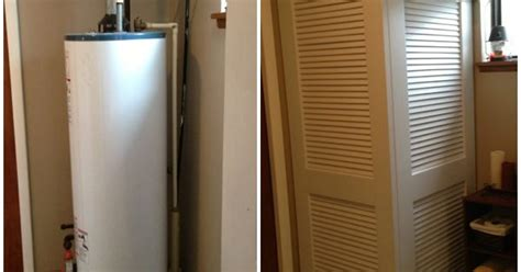 Water Heater Closet Door How To Hide Exposed Water Heater Fix With Louvered Doors Hinged Together Ideas For The
