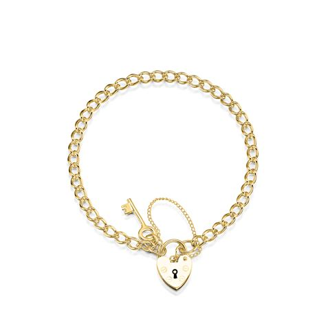 charm uk 9ct yellow gold curb charm bracelet with key and