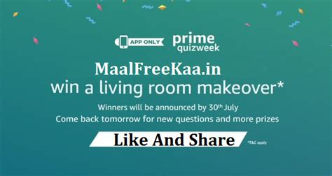 Amazon Prime Daily Giveaway - amazon prime quiz day 6 contest win living room makeover