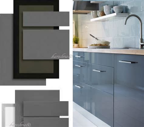High Gloss Grey Kitchen Cabinets Ikea Abstrakt Gray Kitchen Cabinet Door Front High Gloss Grey Drawer Fronts New Ebay
