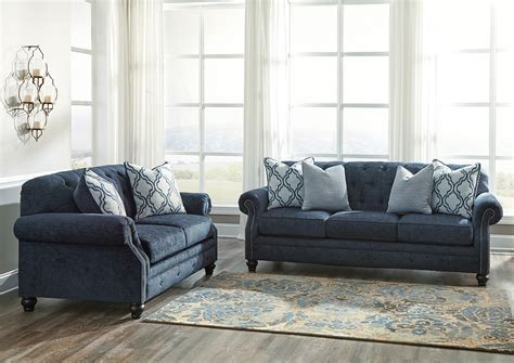 navy blue sofa and loveseat best buy furniture and mattress lavernia navy sofa and