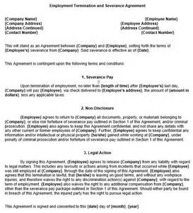 severance agreement template employment severance agreement template