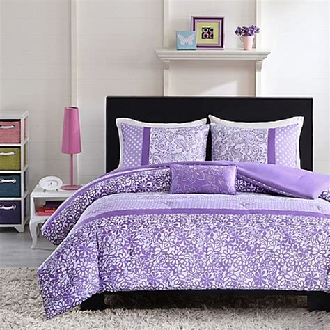 purple and yellow bedding mizone riley reversible comforter set in purple bed bath