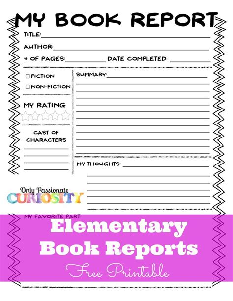Elementary School Book Report Template