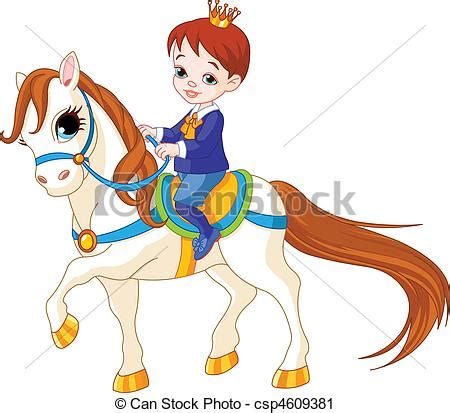 vector clip art of little prince on horse cute little