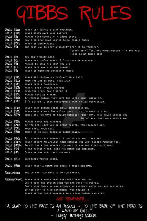 gibbs rules complete list ncis gibbs rules 2 by unnatural freak on deviantart