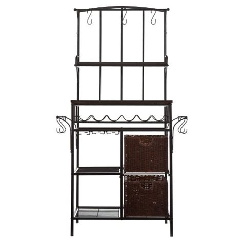 Bakers Rack With Wine Rack by Southern Enterprises Metal Rattan Bakers Rack With Wine Rack