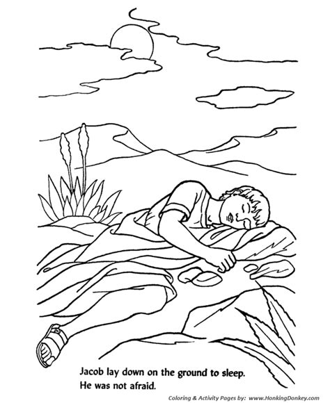 Bible Story Characters Coloring Page Sheets Jacob Slept