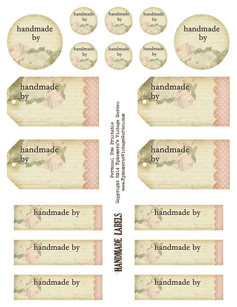 Tags Handmade - free and beautiful printable handmade by tags and