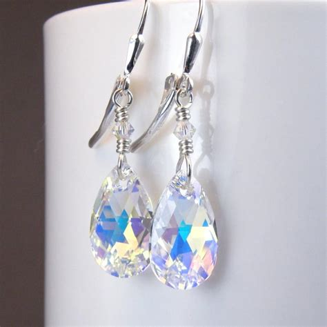 Handmade Swarovski Earrings - teardrop earrings swarovski sterling silver