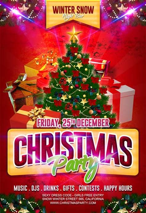 free christmas party flyer template download for photoshop