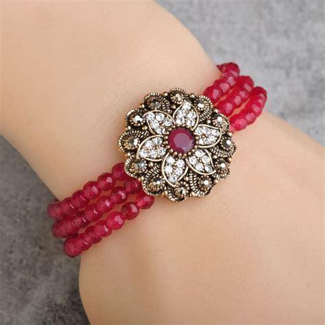 Elastic Turkish Jewelry Red African Beads Crystal Flower Bracelet Vintage Resin Antique Gold