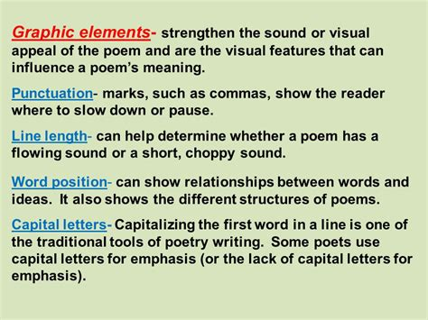 Visual Elements Of Essay by Poetry Notes And Exles Ppt