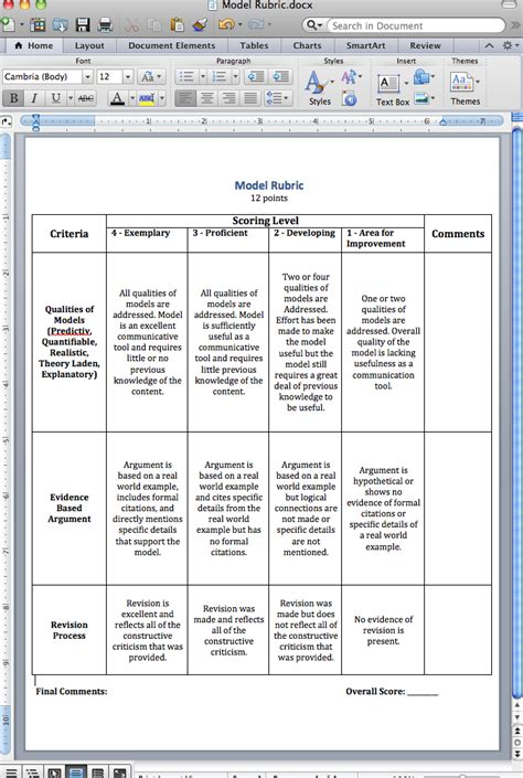 grading rubric template word creating a rubric