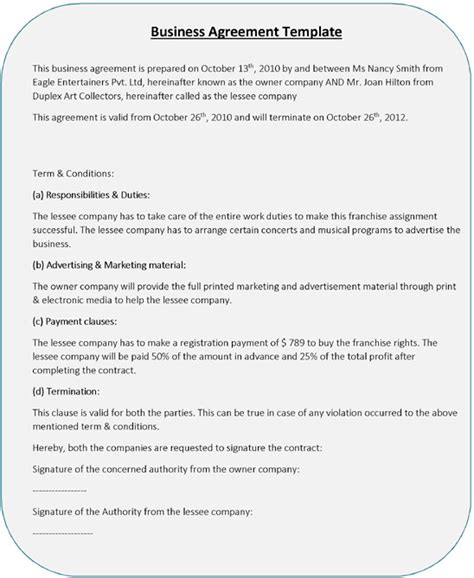 business contract template word business agreement templates 5 free word pdf sles