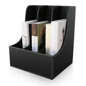 Desk Filing Organizer Scroll Edge 3 Slot Office Desktop File Box Organizer Filing Stand Wood Structure Pu Leather