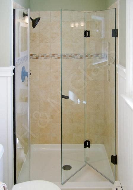 Frameless Bathroom Shower Doors Bi Fold Frameless Shower Door Add Stationary Panel Or It Comes In 60 Quot Length Water Spill Out
