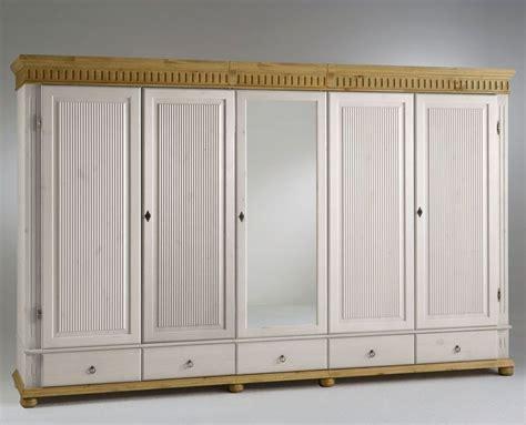 Schlafzimmerschrank Weiss Schiebetüren by Kleiderschrank 5 T 252 Rig Xl Wei 223 Mit Spiegel Kiefer Massiv