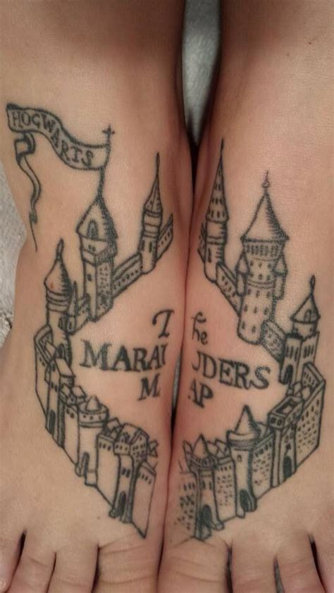 marauders map tattoo marauders map foot tattoos