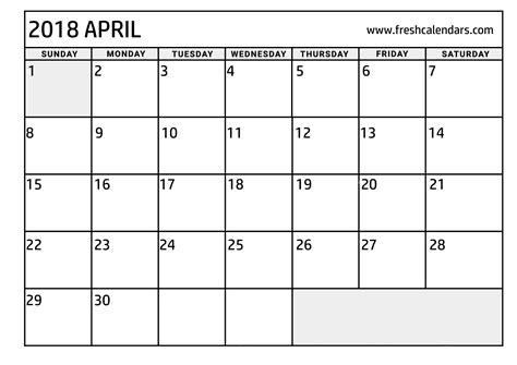printable calendar for april 2018 april 2018 printable calendar templates